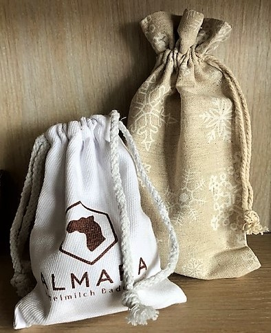 Camel milk bath ball in Christmas linen bag